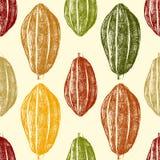 Graines de cacao tirées par la main sans couture illustration libre de droits