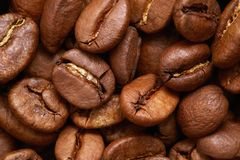 Graines de café de Brown ou haricots, macro Photo libre de droits