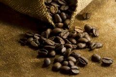 Graines de café dans la lumière foncée Photos stock
