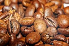 Graines de café frites sur un fond de coffe Macro Photos stock
