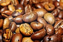 Graines de café frites sur un fond de coffe Macro Image stock