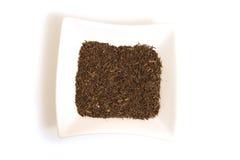 Graines de cumin noires dans la cuvette blanche carrée Photographie stock
