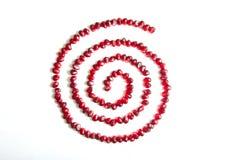 Graines de grenat en composition en spirale Photographie stock libre de droits