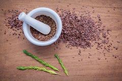 Graines de lin nutritives en mortier blanc pour des ingrédients de nourriture de régime Photo libre de droits