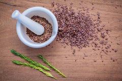 Graines de lin nutritives en mortier blanc pour des ingrédients de nourriture de régime Photographie stock libre de droits