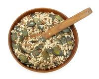 Graines de lin textile, de potiron, de sésame et de tournesol saines Image stock