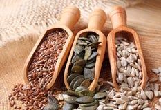 Graines de lin textile, de potiron et de tournesol Photos stock