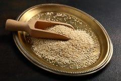 Graines de quinoa sur le plateau photos stock