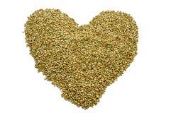 Graines de sarrasin formant un coeur Images stock