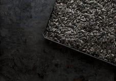 Graines de tournesol noires dans une poêle Image libre de droits