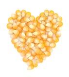 Graines en forme de coeur de maïs Photographie stock