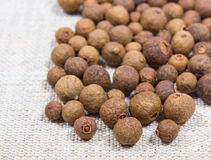 Grains of allspice on a canvas. Grains of allspice on canvas background closeup stock photos