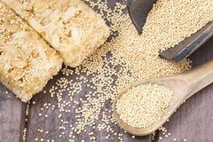 Grains and amaranth energetic bar on the table. Amaranthus royalty free stock images