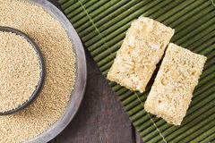 Grains and amaranth energetic bar on the table. Amaranthus stock photos