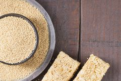 Grains and amaranth energetic bar on the table. Amaranthus stock photography