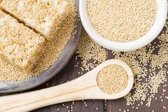 Grains and amaranth energetic bar on the table. Amaranthus royalty free stock image