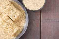 Grains and amaranth energetic bar on the table. Amaranthus royalty free stock photos