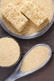 Grains and amaranth energetic bar on the table. Amaranthus stock images