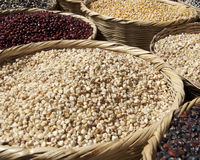 Grains and beans in a market Royalty Free Stock Photo
