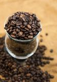 Grains of black roasted coffee Stock Image