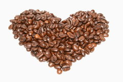 Grains of coffee. Heart, love Royalty Free Stock Photo