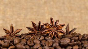 Grains of coffee aroma and invigorating drink Royalty Free Stock Photo