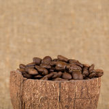 Grains of coffee aroma and invigorating drink Royalty Free Stock Image