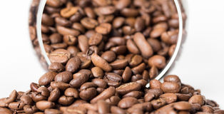 Grains of coffee aroma and invigorating drink stock images