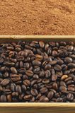 Grains of coffee, cocoa powder in a box Stock Photography