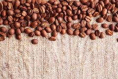 Grains of coffee on a fabric Stock Photography