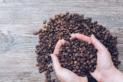 Grains of coffee in female hands. Coffee on a wooden table. Stock Photo