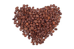 Grains of coffee in the form of heart Stock Images