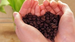 Grains of coffee in the hands of the heart. On the marble table of the kitchen, women`s hands with coffee beans. stock footage