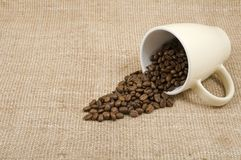 Grains of coffee pour out from a mug Royalty Free Stock Images
