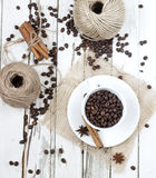 Grains of coffee and spice Royalty Free Stock Images