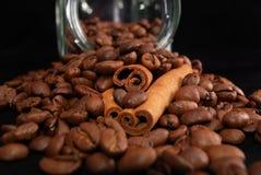 Grains of coffee and stick cinnamon Stock Image