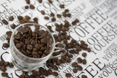 Grains in a cup of coffee Royalty Free Stock Photos
