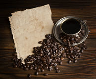 Grains and cup of coffee Royalty Free Stock Photo