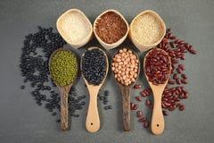Grains de céréale et haricots de graines utiles pour la santé dans des cuillères en bois sur le fond gris photos stock