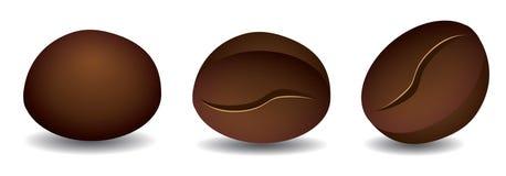 Grains de café, avant et icônes arrières de vue illustration libre de droits