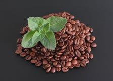 Grains de café avec la menthe fraîche images stock