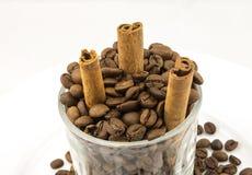 Grains de café, cannelle photo stock