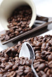 Grains de café, cuvette et cuillère. Photo stock