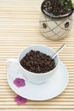Grains de café dans des WI d'une cuvette de blanc Image stock