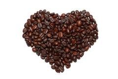 Grains de café dans la forme de coeur Images stock