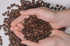 Grains de café dans la paume sur un fond clair Photographie stock libre de droits