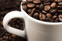 Grains de café dans la tasse Images stock
