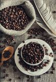 Grains de café dans la tasse blanche Images libres de droits