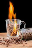 Grains de café dans un verre avec la flamme Photographie stock libre de droits