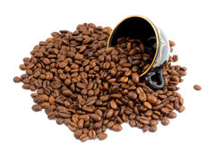 Grains de café de cuvette et Images libres de droits